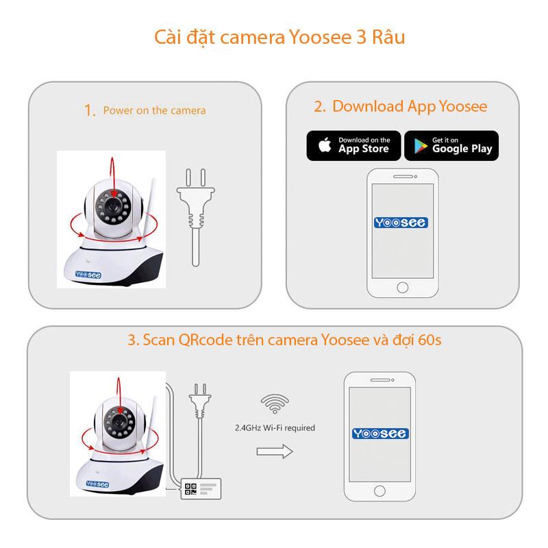 hướng dẫn cài đặt camera yoosee 3 râu 1080p